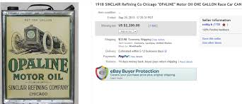 5 top can sold for 2 200 on ebay name of collectible 1918 sinclair refining co chicago opaline motor oil