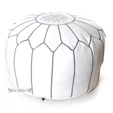 com stuffed moroccan ottoman white grey leather pouf handmade pouffe hassock tuffet foot stool seating foot rest white gray kitchen dining