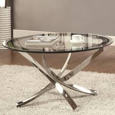 white coffee table with silver legs cocktail round side glass top and metal brown rug fur