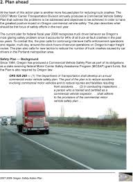 greatest positive impact on oregon mercial vehicle safety the plan describes what should be the