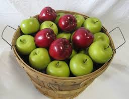 green and red apples. prop title: basket with red and green apples - (basket j 062, g 184, 197) model#: 199. details: 62