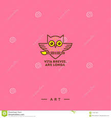 Art Logo On A Pink Background Owl With A Brush With A Latin Phrase