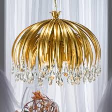 luxury gold leaf chandelier with crystal pendants