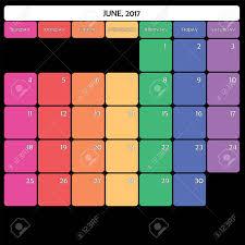 June 2017 Planner Calendar Big Editable Space Color Day