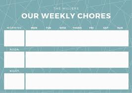 Calendar Chore Chart Template Teal Weekly Chore Chart Templates By Canva