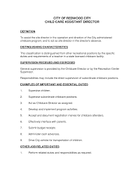 Child Care Responsibilities Resume Free Resume Example And
