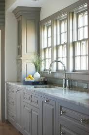 gray kitchen cabinets with fantasy brown granite countertops