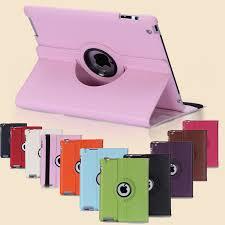 for case apple ipad 2 ipad 3 ipad 4 pu leather smart stand flip case cover 360 rotating screen protector free