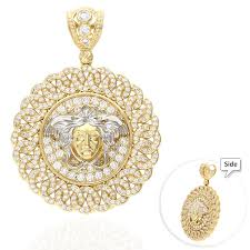 7ct created diamond 10k two tone gold fancy design medusa head medallion pendant wjd exclusives