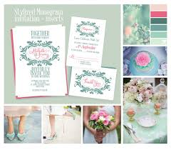 stylized monogram invitation for mint and pink wedding ← wedding Pink And Green Wedding Invitation Templates mint wedding invitation template Printable Wedding Invitation Templates