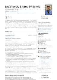 Pharmacy Resume Samples Pharmacist Resume Samples Templates Visualcv