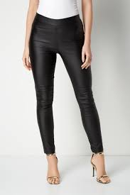 pull on faux leather trousers