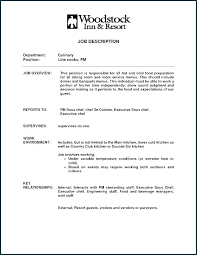 Cook Job Description For Resume Custom Line Cook Cover Letter Resume Line Cook Cover Letter No Experience