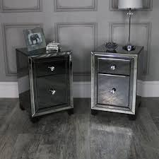 pair of mirrored bedside chests verona range