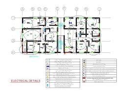 electrical plan apartment block 2d dwg