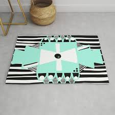 black and white squares and stripes ii rug