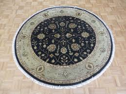 6 x 6 round hand knotted black persian tabriz with silk oriental rug g5247