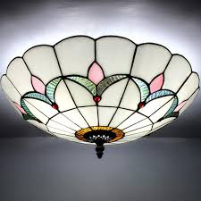 white stained glass 10 inch flush mount ceiling