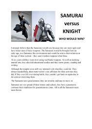 Samurai Vs Knight Venn Diagram Comparison Knight Versus Samurai At The Australian