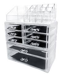 amazon sodynee acrylic makeup cosmetic organizer storage drawers display bo case three pieces set home kitchen