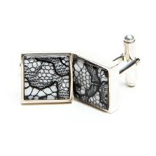 black lace on white silk square silver cufflinks for 8th anniversary gift for him