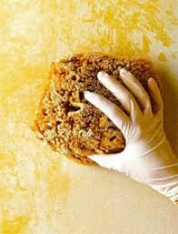 Sponging on is best done with the flat side of a sea sponge