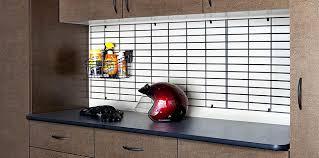 workbench with custom gridwall organization gridwall garage organizers