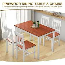 Shop Gymax 5 Piece Dining Table Set 4 Chairs Solid Wood Home Kitchen