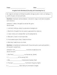 Circling and Conjugating Irregular Verbs Worksheet | ESL ...