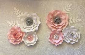 Paper Flower Archway Paper Flowers Set Of 6 With Leaves Backdrop Wedding Nursery Pink White