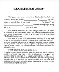 Mutual Confidentiality Agreement confidentiality agreementnon disclosure agreement sample Non 10