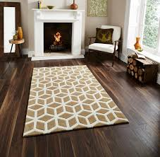 hand tufted optical illusion modern floor rug with