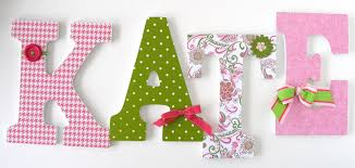 baby nursery wall letters paisley pink green custom contemporary design