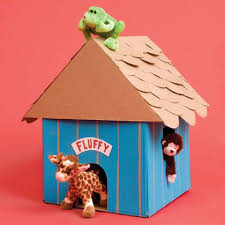 Animal House - cardboard doghouse for stuffed animals. LOVE THIS for  decorating kids room. Make the nameplate for the name of their favorite stuffed  animal ...