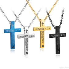 whole antique mens womens stainless steel simple cross pendant engraved necklace silver black blue black catholic jewelry gifts coin pendant