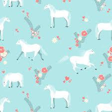 Behang Met Paarden Patroon Blauw Aqua