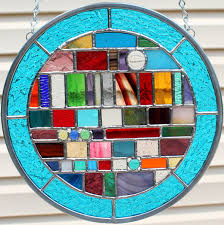 stained glass multicolored round geometric panel from goodgriefglass
