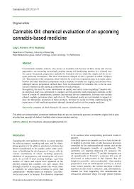 Pdf Cannabis Oil Chemical Evaluation Of An Upcoming