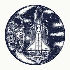 Fototapeta Raketoplán Astronaut A Tetování Symbol Vesmírné Cestování Studium