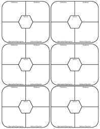 Frayer Model Template 6 Per Page Vocabulary Frayer Model Four Square 6 Per Page
