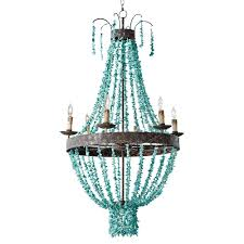pensacola coastal beach beaded turquoise metal chandelier kathy kuo home