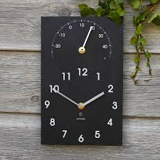 eco recycled outdoor clock and thermometer
