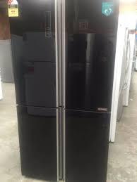 hisense 695l glass 4 door french door fridge black hr6cdff695gb