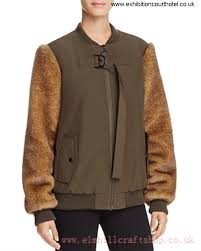 kendall and kylie faux fur sleeve er jacket army green women s 67hj4425 confirm coats eikmsy0579