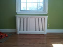 Louver Style Metal Radiator Cover in White