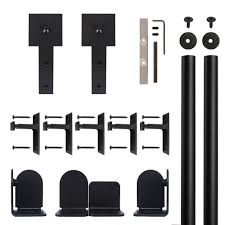 quiet glide cube stick black rolling door hardware kit for 1 1 2 in