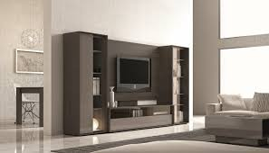 ultra lacquered wall unit with display shelves and storage