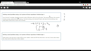 solving a word problem using a 3x3 system of linear equations