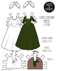 an 18th century paper doll gown known as a round gown designed to fit the a