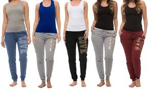 Coco Limon Womens Printed Joggers And Tank Top Set 4 Piece